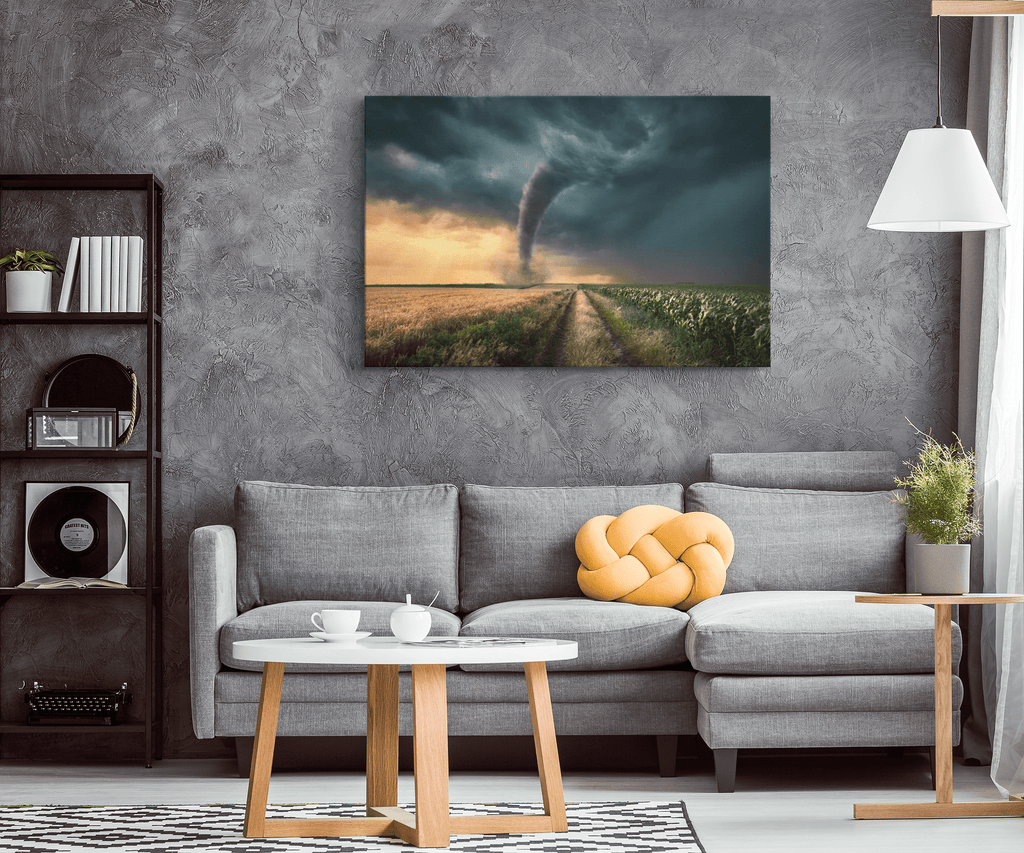 Kansas Tornado in Corn Field Wall Canvas Art Print