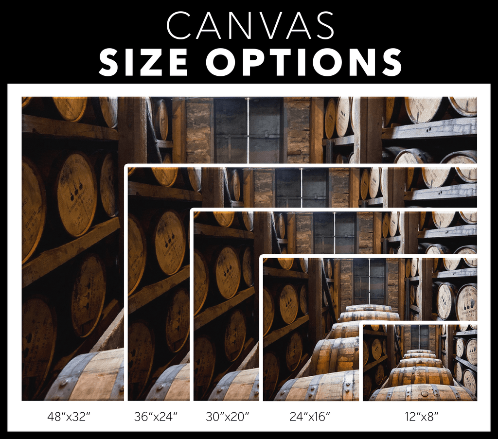 Whiskey Barrels Wall Art Print on Framed Canvas Wall Hanging | Wine Cellar Dining Room Modern Decor