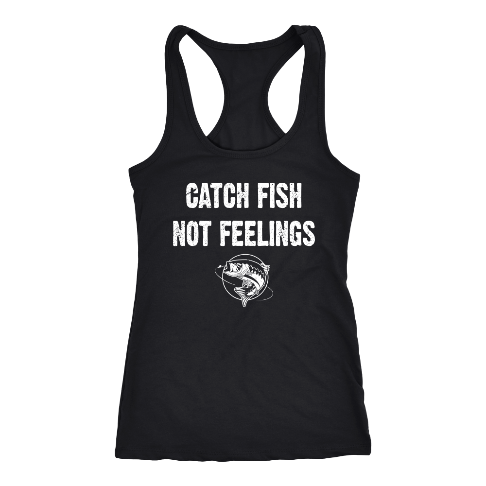 1d2f00702879e4 Catch Fish Not Feelings - Womens Bass Fishing Tank Top Shirt - Gills N Gals  Fishing