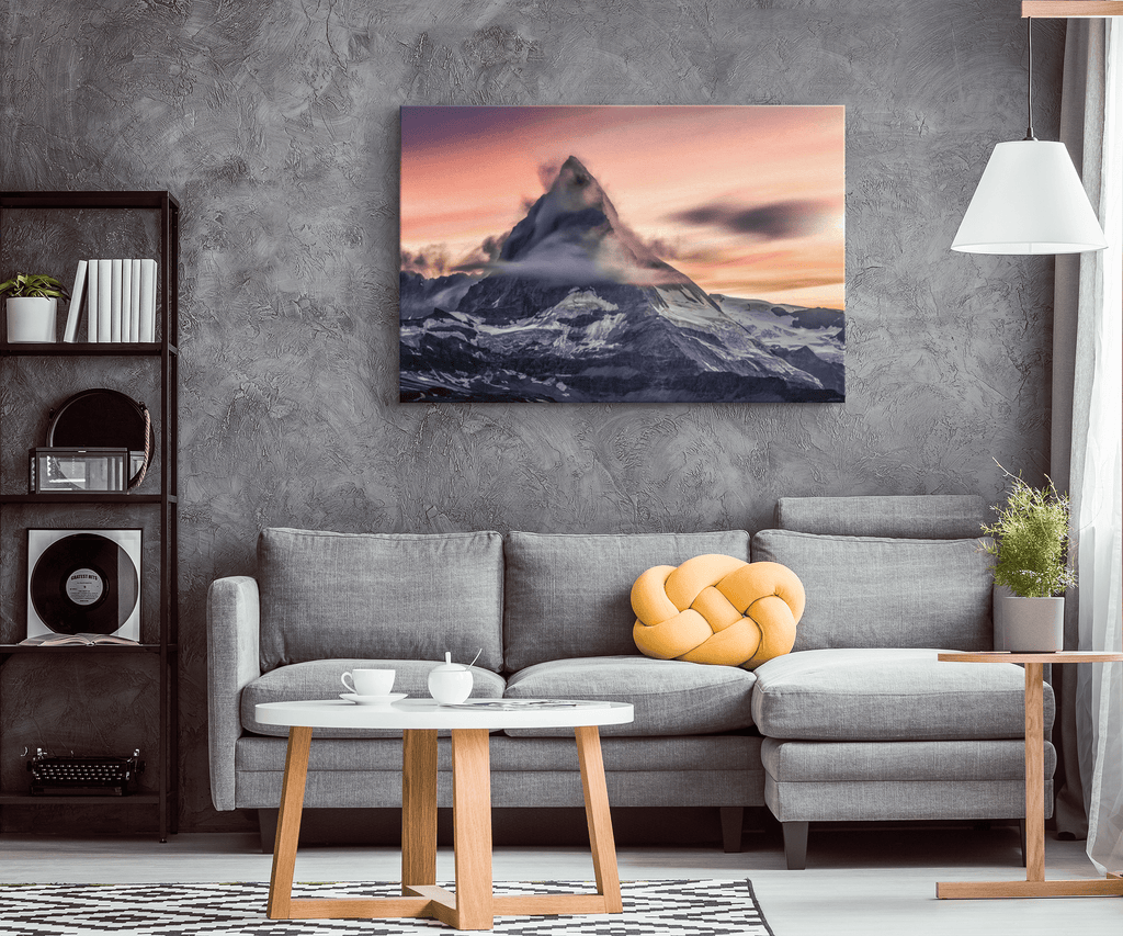 Matterhorn Mountain at Sunset Framed Canvas Photo Print