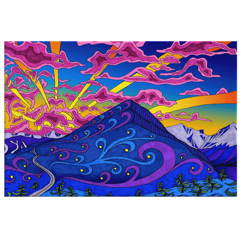 Colorful Trippy Mountain Sunset Nature Art Print on Framed Canvas Wall Art | Colourful Psychedelic Painting | Hippy Art Print