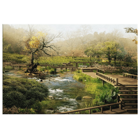 Beautiful Zen Garden in the Forest Stream Framed Canvas Wall Art Print