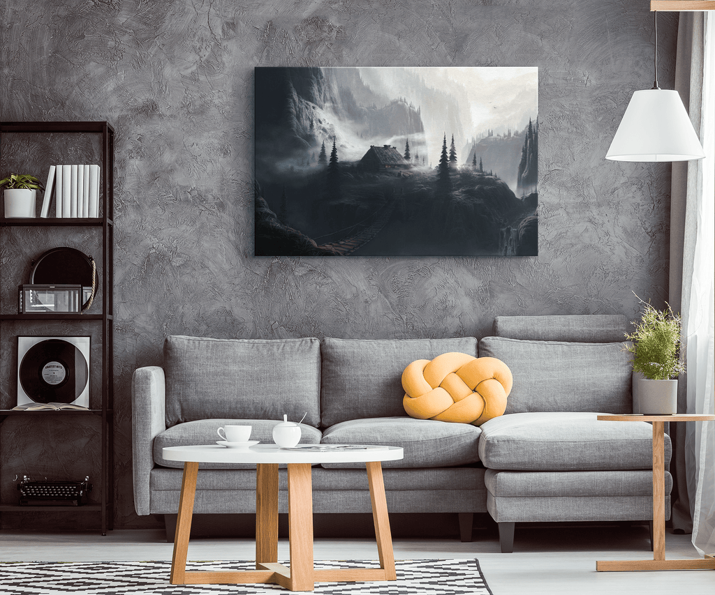 Mystical Misty Fog Mountain Fairy Tale fantasy Landscape Painting on Framed Canvas Wall Art Print