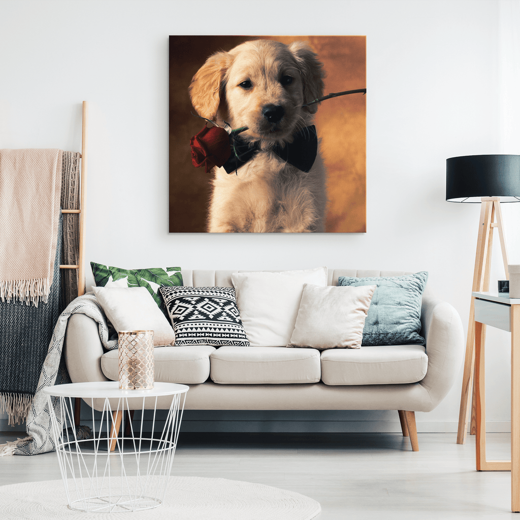 Cute Puppy with Rose Framed Canvas Photo Print