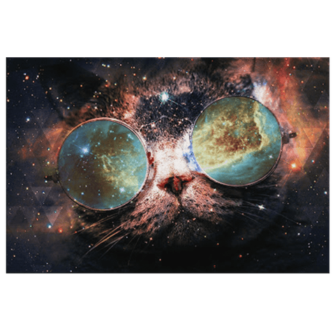 Galaxy Cat in Space with Sunglasses Art Print on Framed Canvas Wall Hanging | Galactic Space Kitty