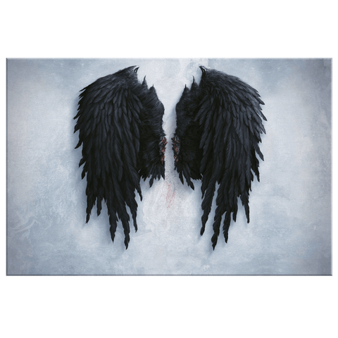 Banksy Black Angel Wings on Framed Canvas Wall Art Print | Clipped Wings Banksy Photo Print