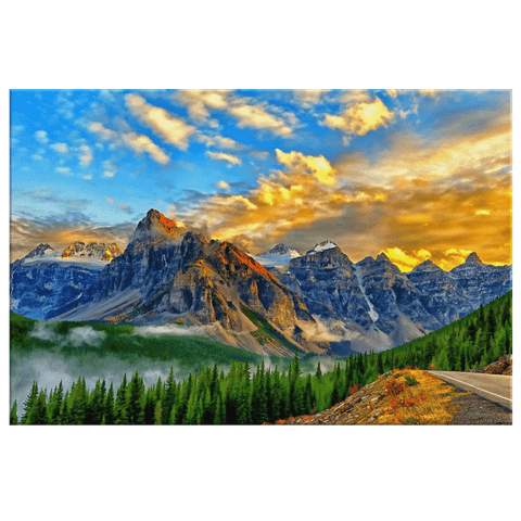Mountain Forest Way Golden Sky Framed Canvas Photo Print