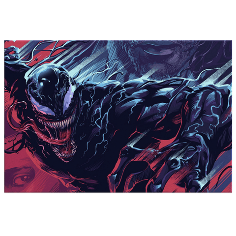 Venom Marvel Spiderman Comic Fan Art Print on Framed Canvas Wall Art | Venom Wall Hanging