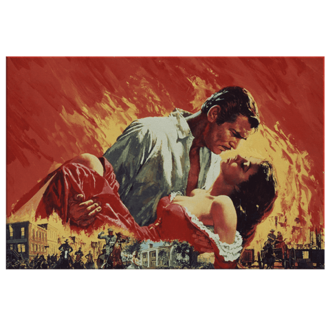Gone With The Wind Movie Poster Art Print on Framed Canvas Wall Hanging | Clark Gable