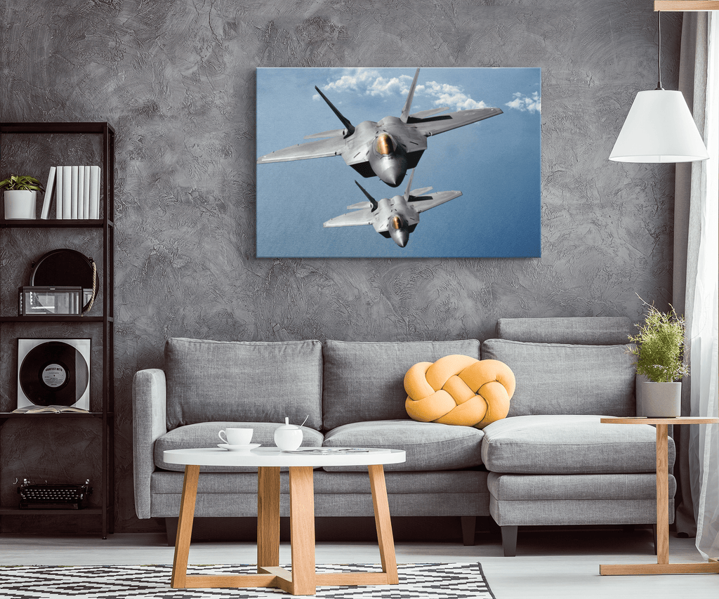 F-22 Raptor USAF Fighter Jets | Air Force Decor Photo Print on Framed Canvas Wall Hanging