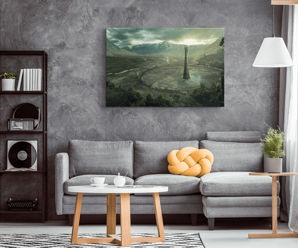 Isengard Orthanc Tower Painting Fan Art Print on Framed Canvas Wall Hanging | Lord Of The Rings Two Towers Tolkien Decor
