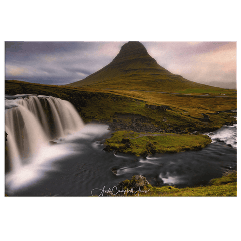 Kirkjufell Mountain and Kirkjufellsfoss Waterfall Scenery Framed Canvas Photo Print