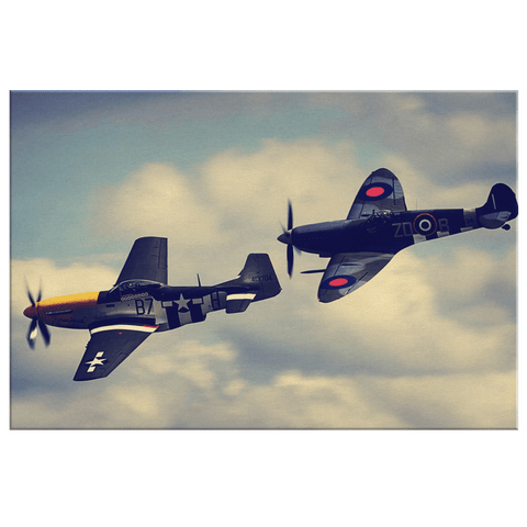 P52 Mustang & Spitfire WW2 Fighter Planes Photo Print on Framed Canvas Wall Hanging | War History RAF USAF Air Force Pilot Decor