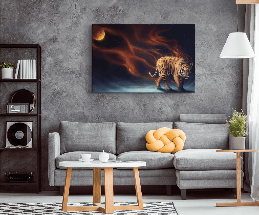 Mystical Flaming Space Tiger Magical Art Print on Framed Canvas Wall Hanging | Fantasy Tiger Decor