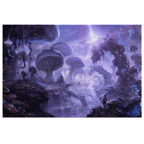 Dark Purple Space Mushroom Trippy Fantasy World Framed Canvas Wall Art Print | Imaginative 420 Psychedelic Art Decor