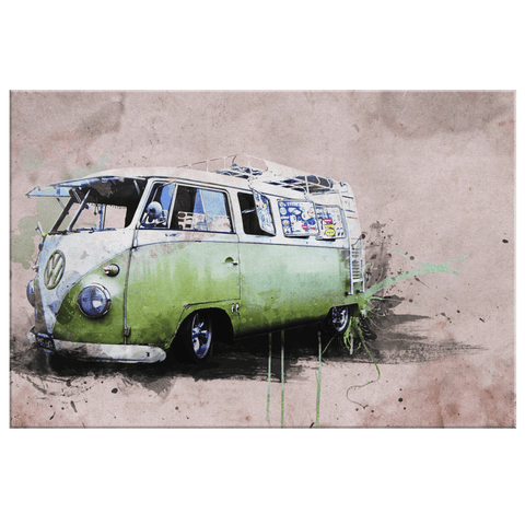 Vintage Volkswagen Hippie Van Painting on Framed Canvas Wall Art Print | Kombi Bus 60's Era Van Art