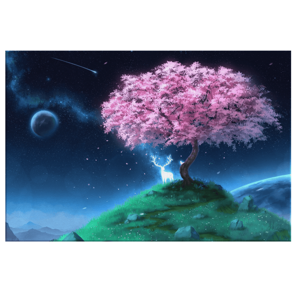 Pretty Fantasy World Cherry Tree Spirit Deer in Space Mystical Magical Canvas Wall Art Print