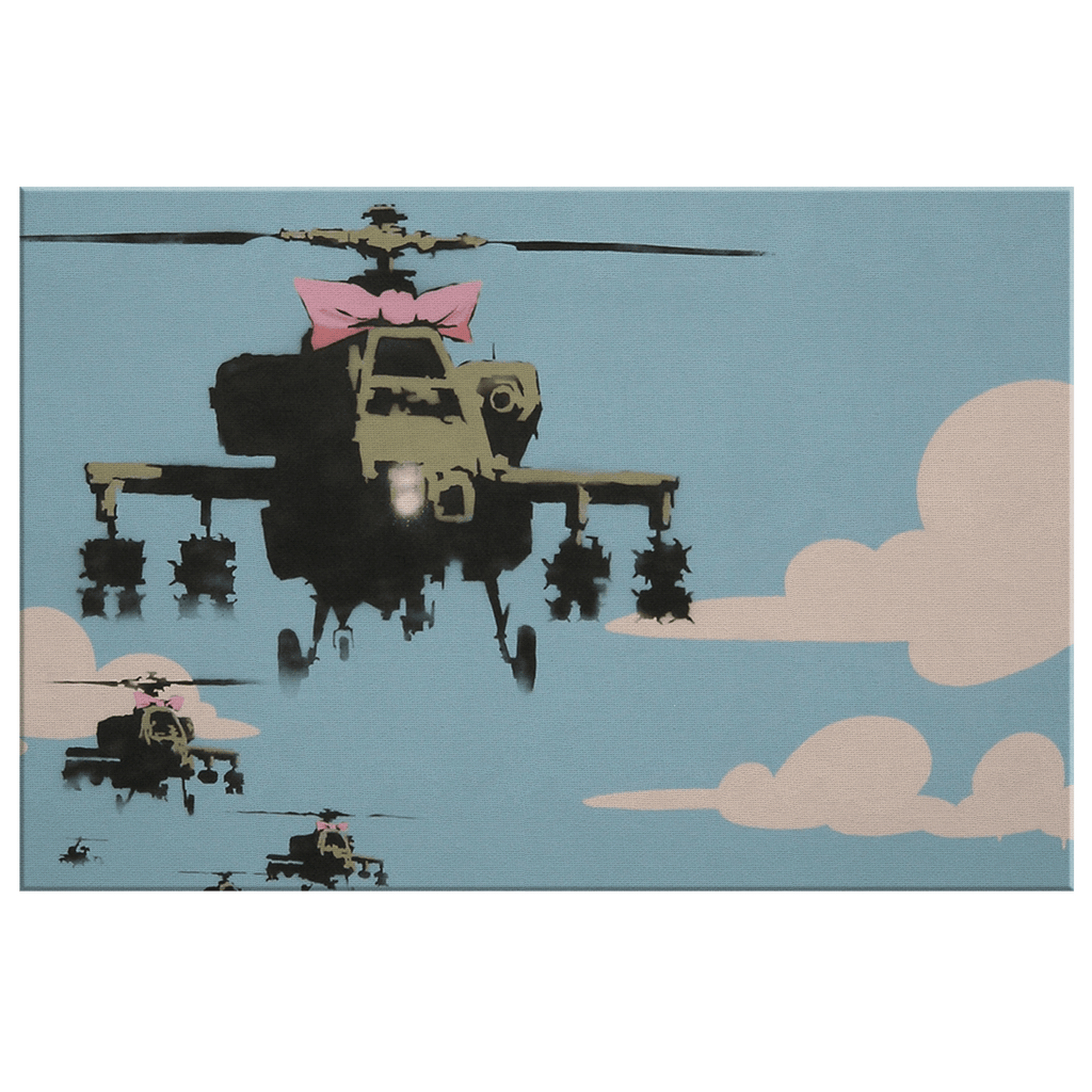 Banksy Helicopters with Pink Bow on Framed Canvas Wall Art Print | Street Art Contemporary Political Art Happy Choppers
