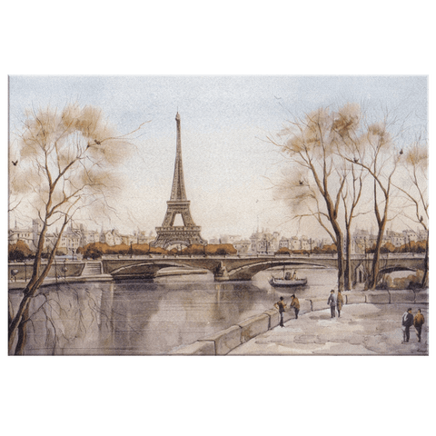 Vintage Paris Painting | Retro Eiffel Tower Art Print on Framed Canvas Wall Hanging | Rustic Classic Art Piece