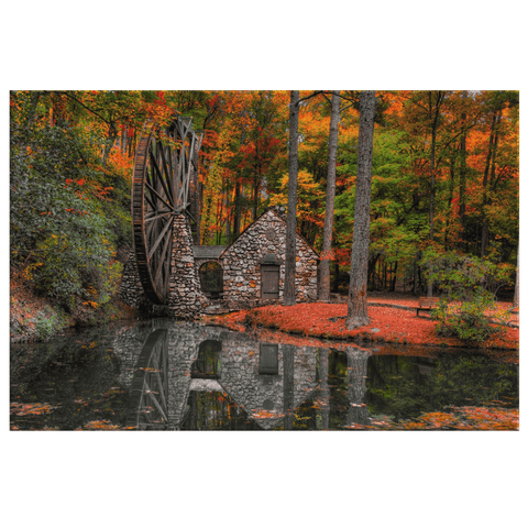 Old Water Mill on River Autumn Forest Reflection Framed Canvas Photo Print