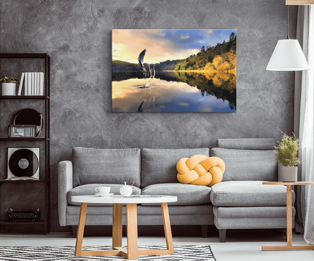 Jumping Fish in Autumn Lake Painting on Framed Canvas Art Print | Fishing Gifts For Men Cabin Lodge Decor Nature Art