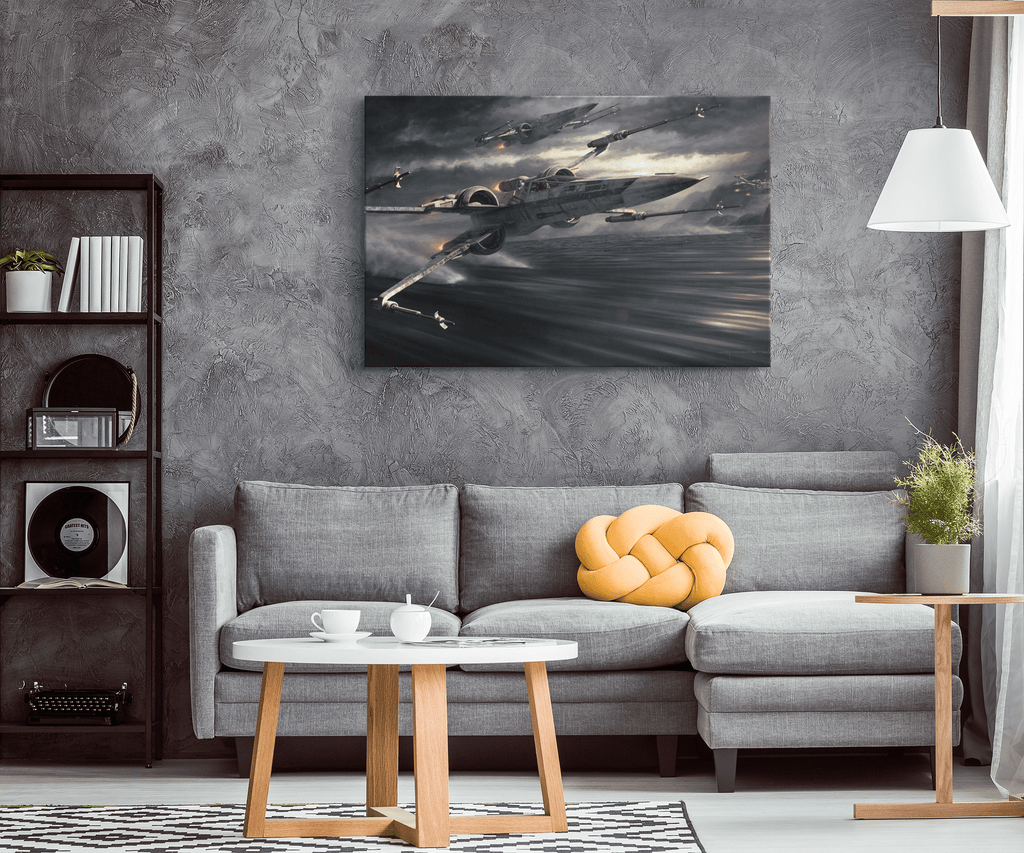 Star Wars T 70 X Wing Fighter on Framed Canvas Wall Art Print | Jedi Star Fighter Jet | Star Wars Movie Fan Art