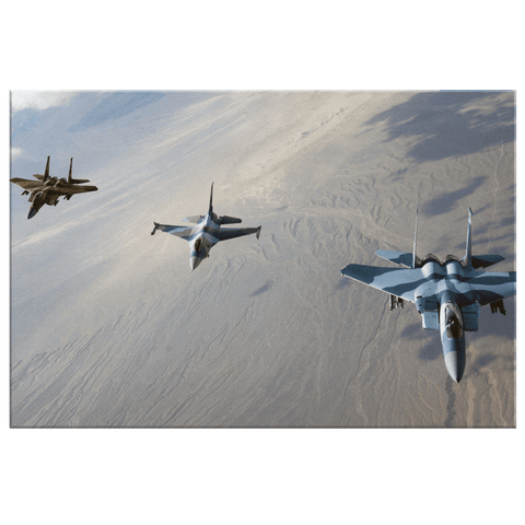 F-16 Fighting Falcon with F-15 Eagle Flying Formation | Framed Canvas Photo Print | USAF Decor