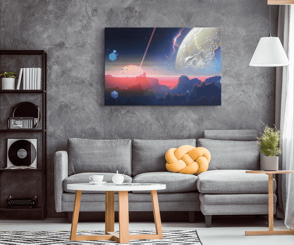 Galaxy Atom Planet Space Nebula Framed Canvas Photo Print