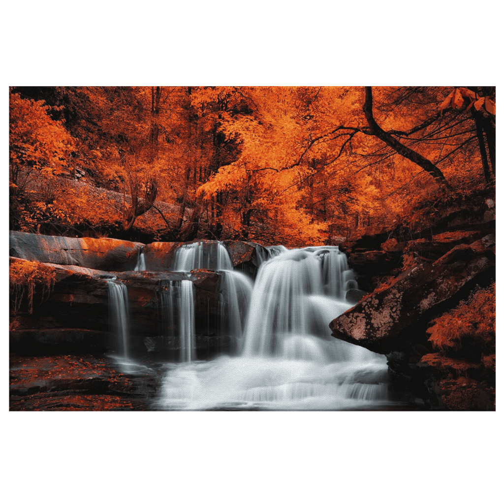 Orange Bedroom Decor Fall Autumn Leaves Forest Waterfall Home Wall Decor Frame Canvas Photo Print