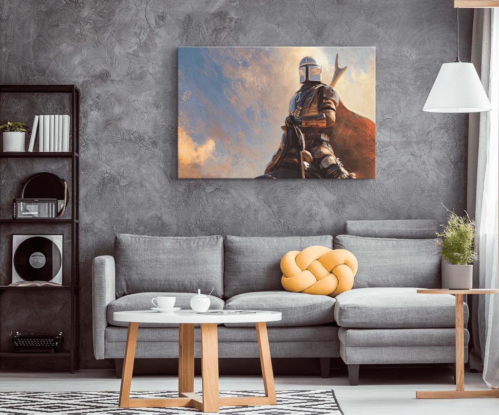 The Mandalorian Star Wars Photo Canvas Framed Wall Art Print | Star Wars Painting Photo | Kids Birthday Gift