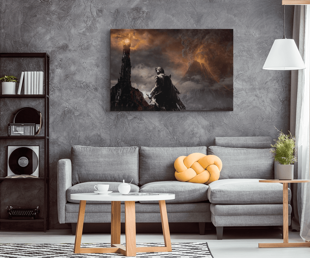 LOTR Mordor Sauron Dark Fantasy Painting Art Print on Framed Canvas Wall Hanging | Lord Of The Rings Middle Earth