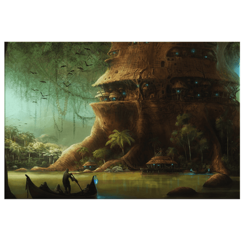 Fantasy Land Elf Tree City Mystical Fairy Tale Story Art Print on Framed Canvas Wall Hanging