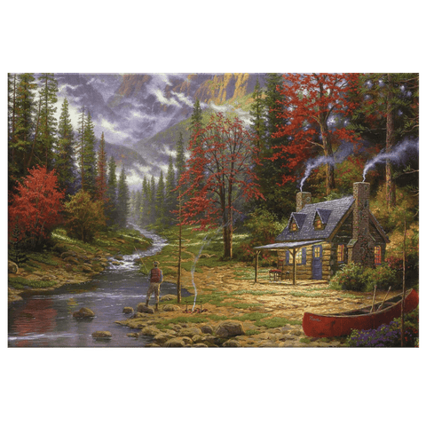 Vintage Rustic Cabin Autumn Forest Stream Fishing Painting on Framed Canvas Wall Art Print | Cabin Decor