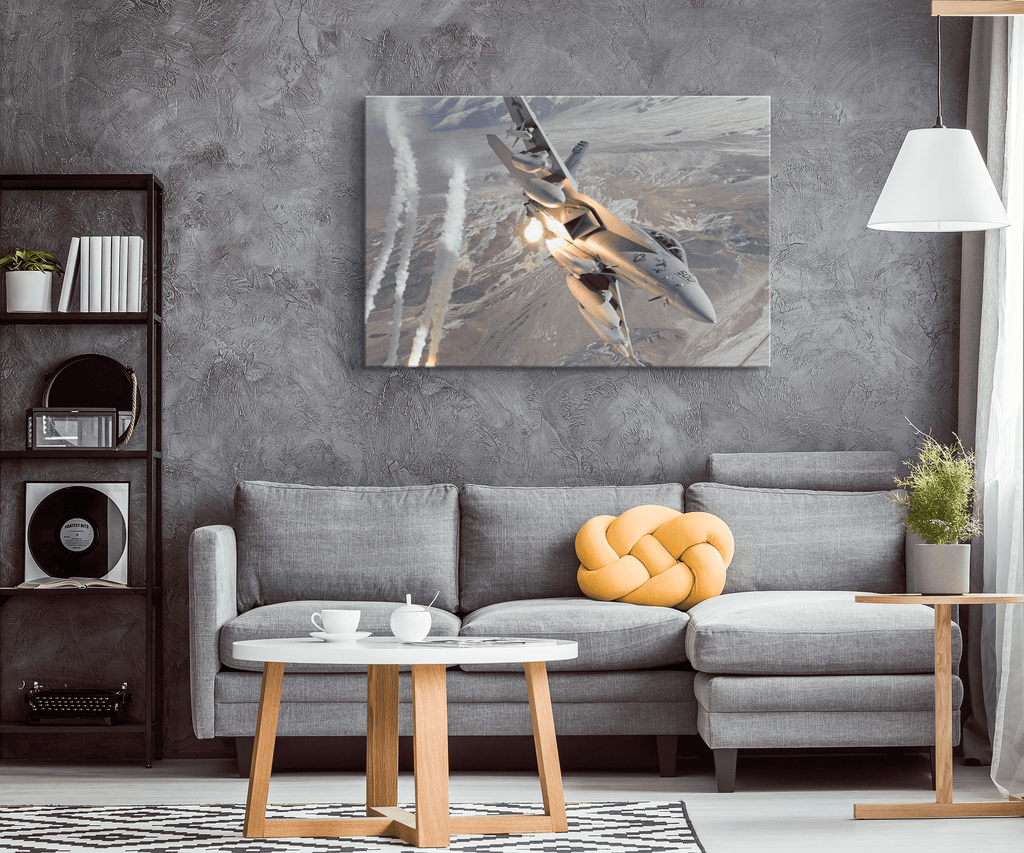 EA 18 Growler USAF Military Fighter Jet on Framed Canvas Photo Print | Air Force Pilot Gift American Decor