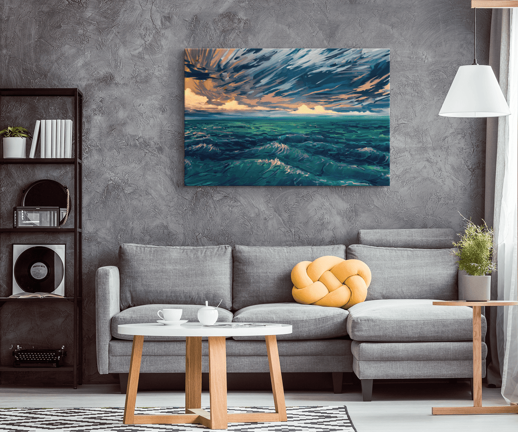 Blue Ocean Waves Beautiful Sea Oil Painting Nautical Bedroom and Living Room Decor on Canvas Wall Art Print Seascape Painting