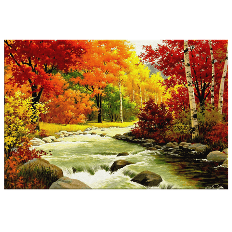 Colourful Trees River And Wonderful Autumn Painting Artwork Framed Canvas Wall Art