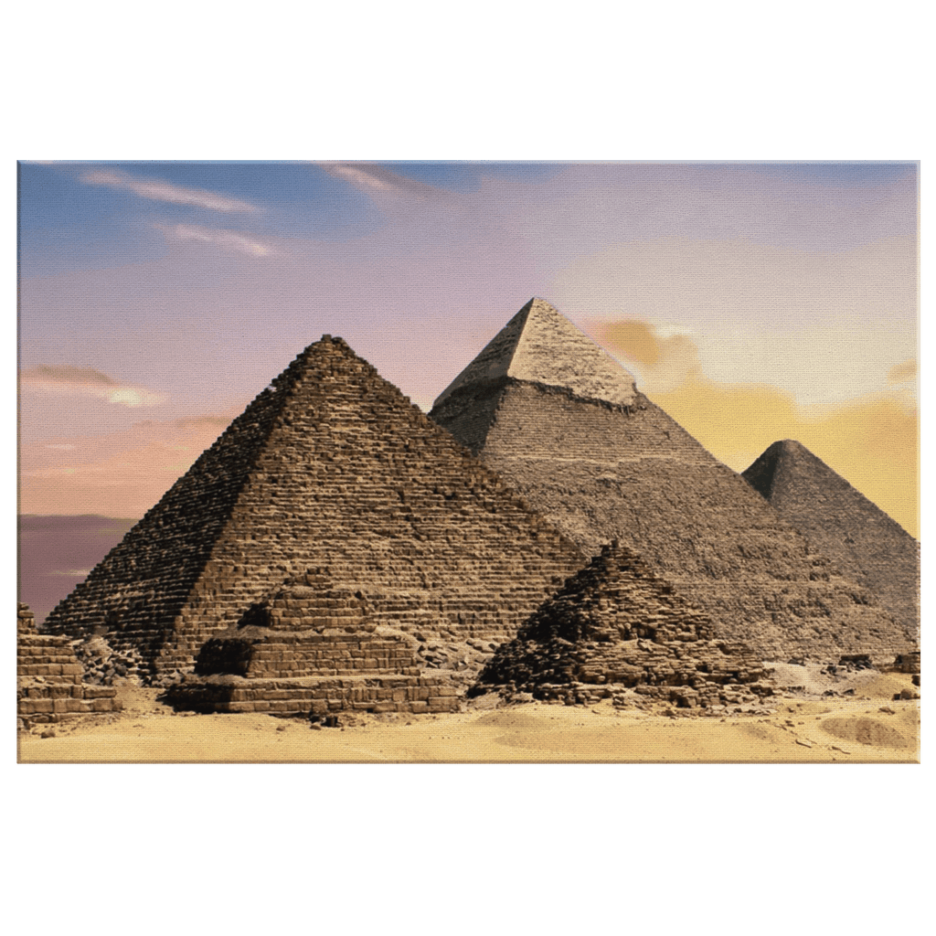Pyramids at Giza Photo Print on Framed Canvas Wall Art | Ancient Egypt Great Pyramid Sunset Picture | Gizeh Necropolis near Cairo