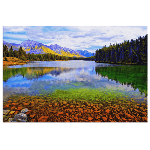 Colourful Yellowstone Park River Mountain Forest Framed Canvas Photo Print