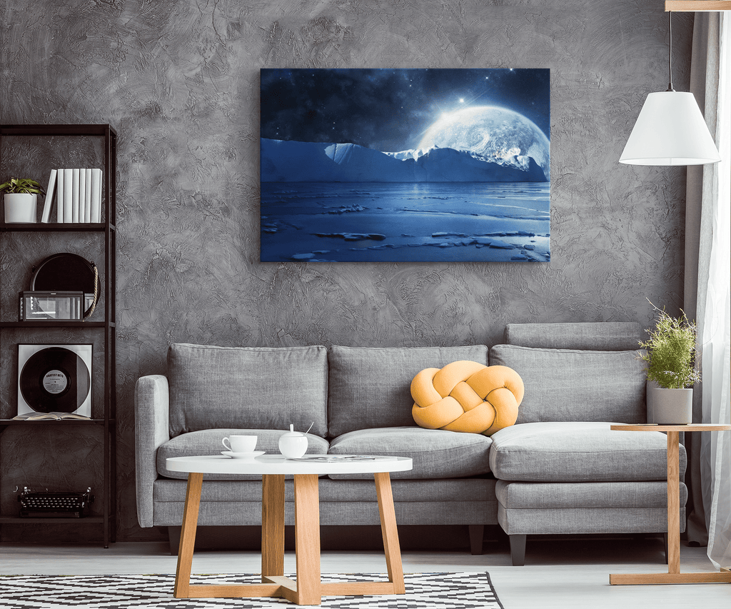Blue Ice age Glacier with Moon Framed Canvas Wall Art Print | Fantasy Night Time Snow Arctic Wall Hanging