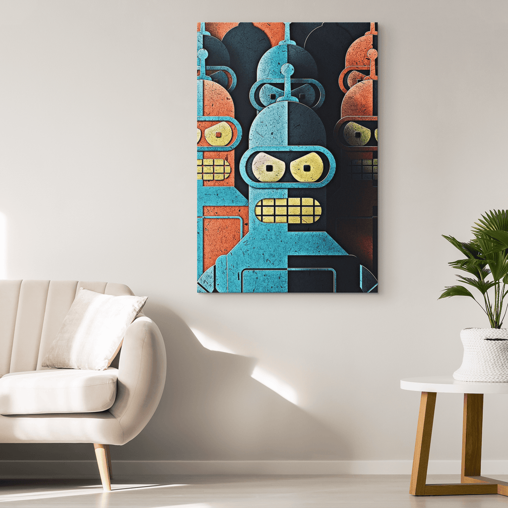 Futurama Bender Fan Art Print on Framed Canvas Wall Hanging Gift