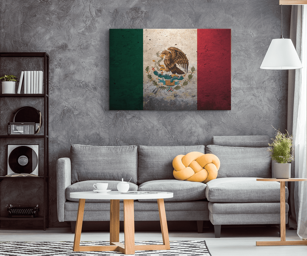 Grunge Flag Of Mexico Framed Canvas Wall Art