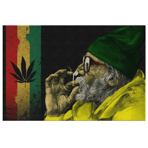 420 Weed Blunt Smoking Man Painting on Framed Canvas Wall Art Print Decor