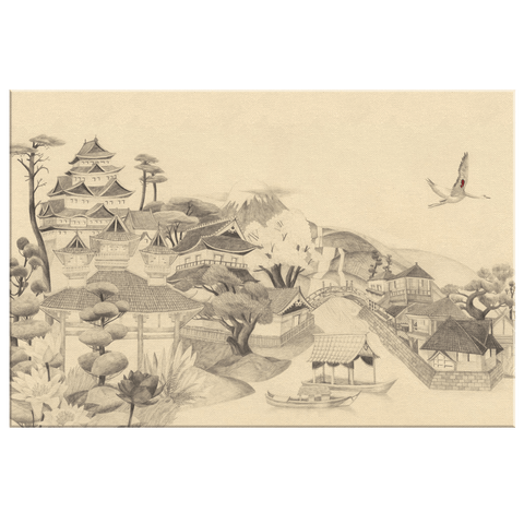 Japanese Village Mount Fuji Vintage Framed Canvas Wall Art Print | Peaceful Serene Rustic Classic Painting Oriental Zen Stencil Art