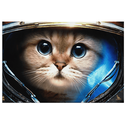 Space Astronaut Cat Starcraft Jim Raynor Kitty Parody | Funny Cat Decor | Framed Canvas Wall Hanging