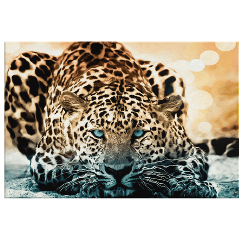 Hunting Cheetah Focused Big Cat Framed Canvas Photo Print | Cheetah Effects Filter Wall Hanging Decor