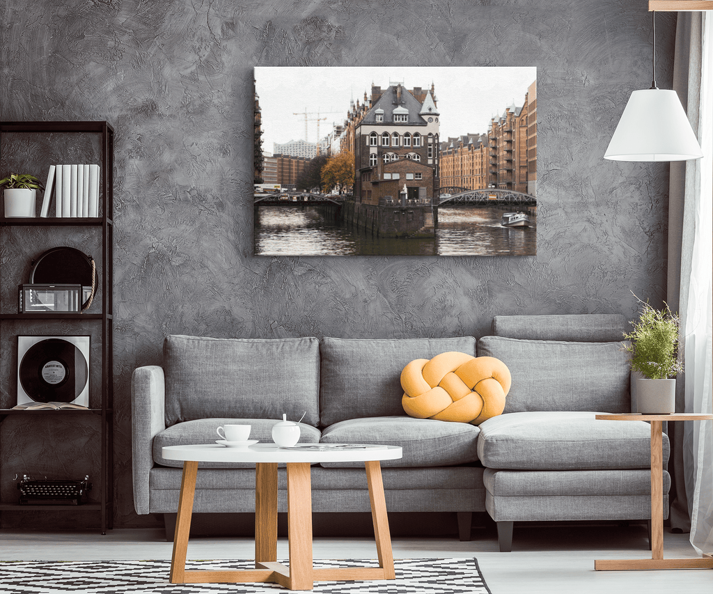 Germany Hamburg City at Day Framed Canvas Photo Print