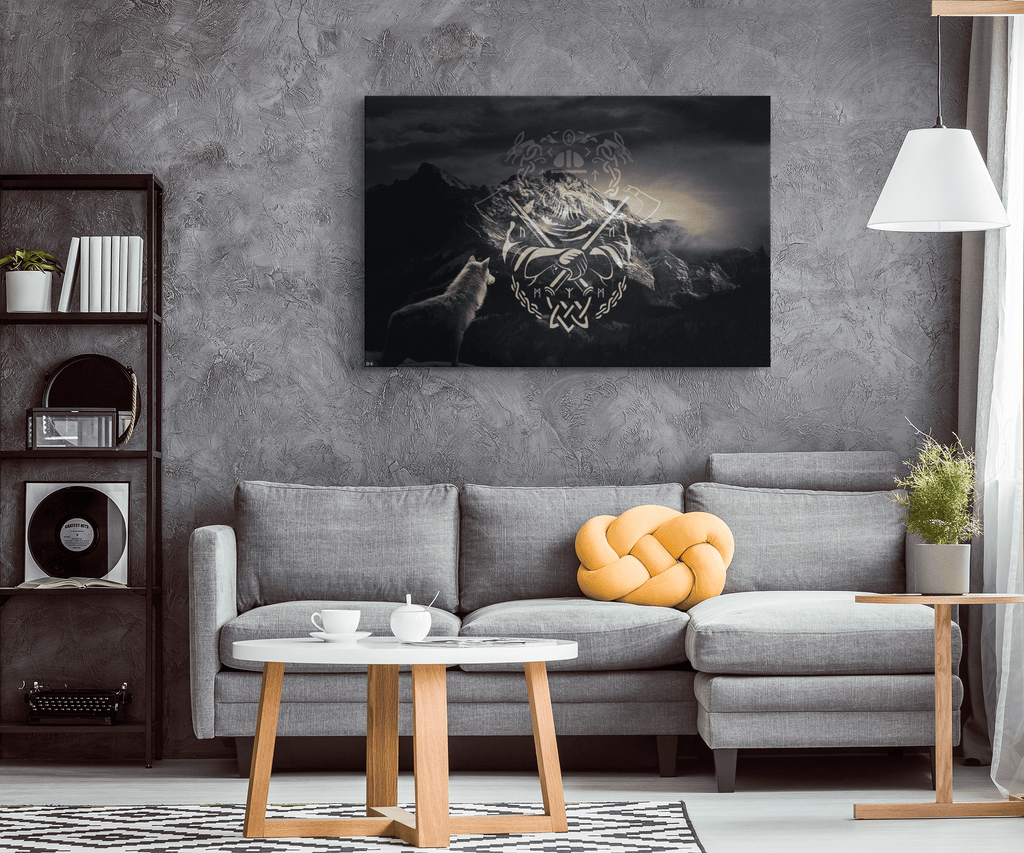 Norse Viking Runes & Wolf Framed Canvas Wall Art | Viking Warrior Traditional Scandinavian Lore Painting
