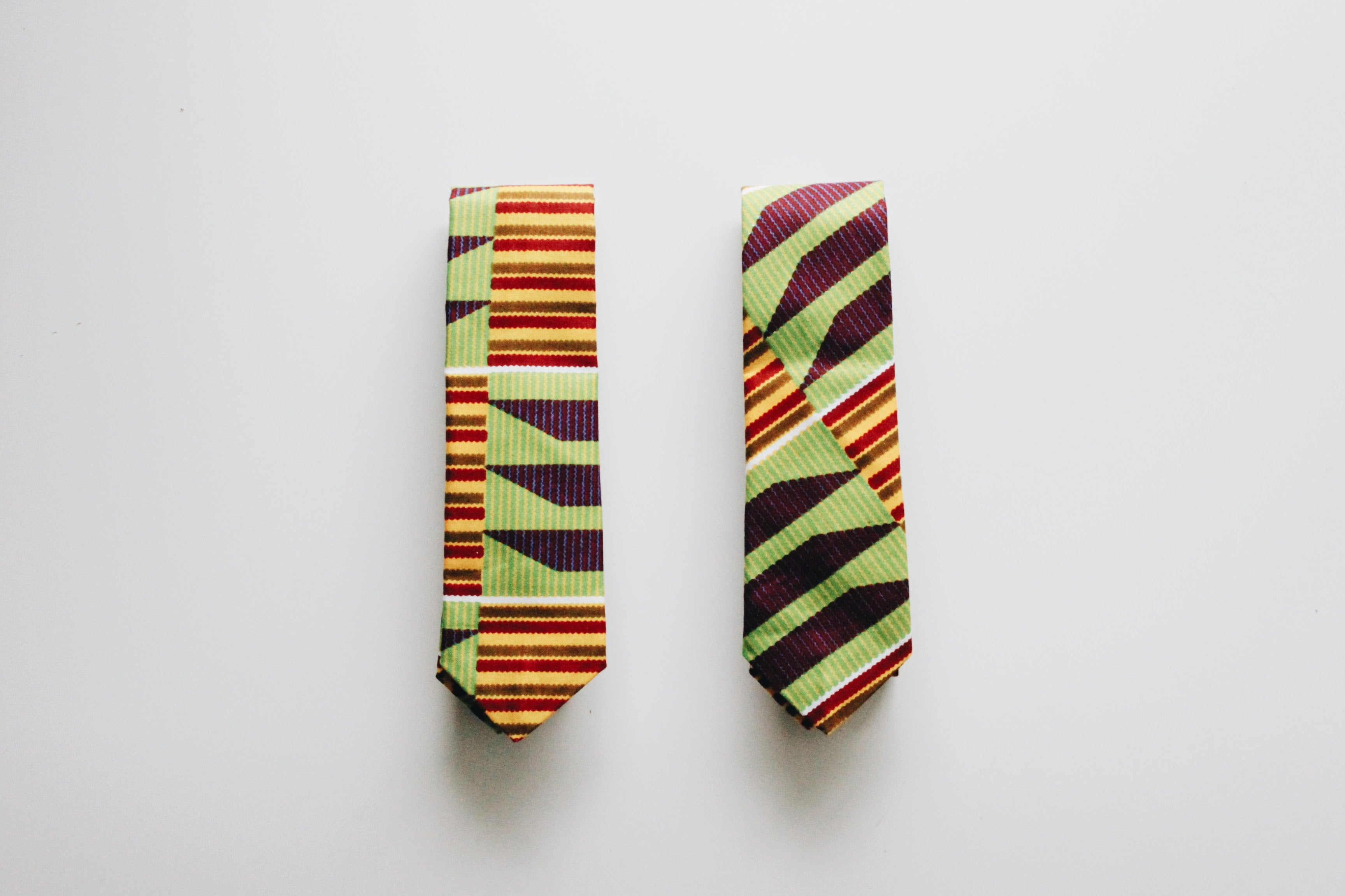 African Print Tie and Pocket Square Set - Green Kente