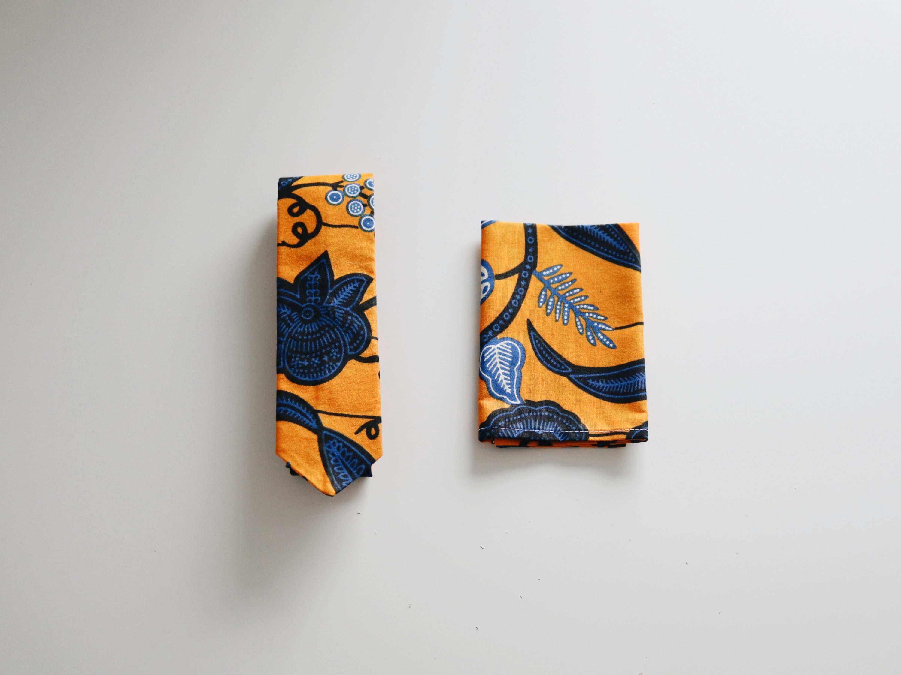 African Print Tie and Pocket Square Set - Berekua Yellow