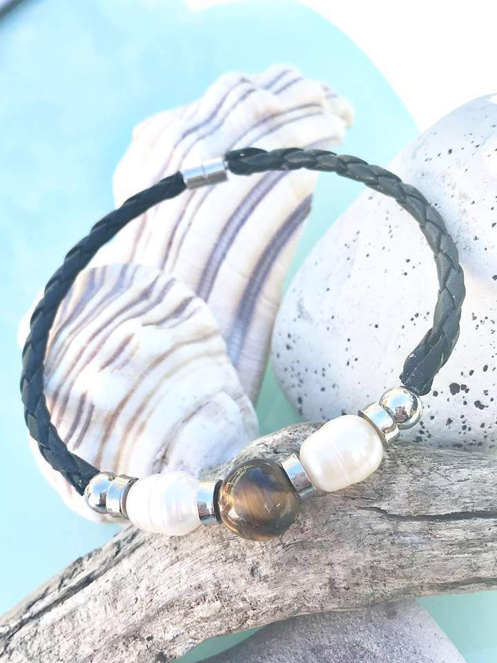 tigers eye and pearl bracelet